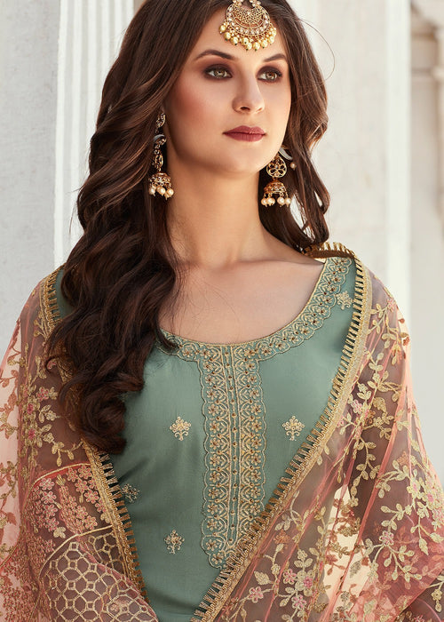 Indian Palazzo Suit - Teal Gharara Suit In USA, Canada, New Zealand