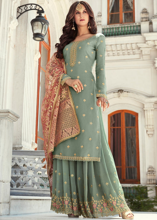 Teal Embroidered Gharara Suit