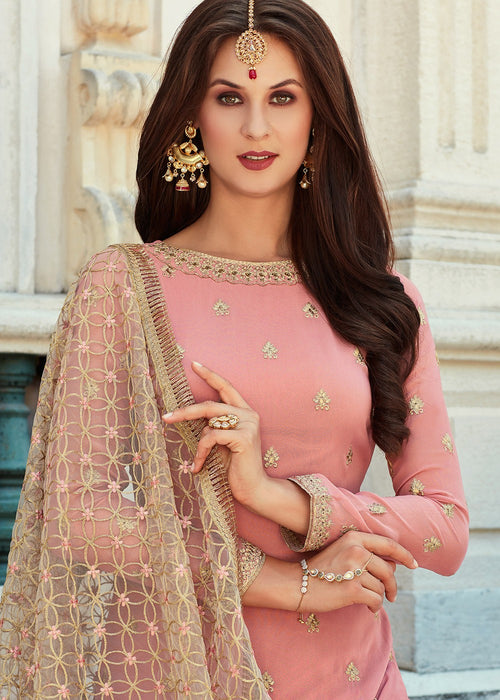 Indian Palazzo Suit - Pink Gharara Suit In USA