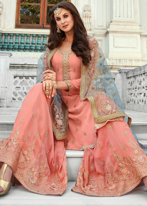 Indian Dresses - Peach And Grey  Gharara Suit