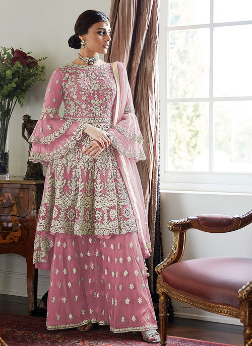 Indian Clothes - Pink Beige Multi Embroidered Designer Gharara Suit
