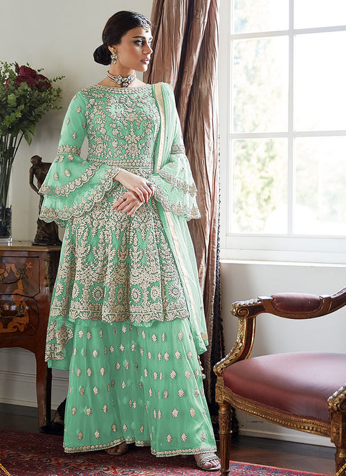 Indian Clothes - Green Beige Multi Embroidered Designer Gharara Suit