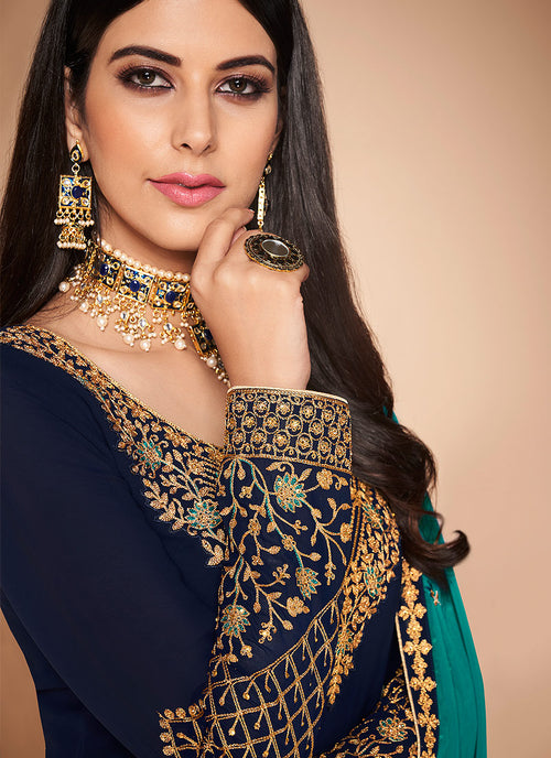 Navy Blue And Turquoise Multi Embroidered Churidar Suit