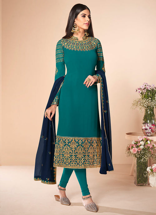 Turquoise And Blue Multi Embroidered Churidar Suit