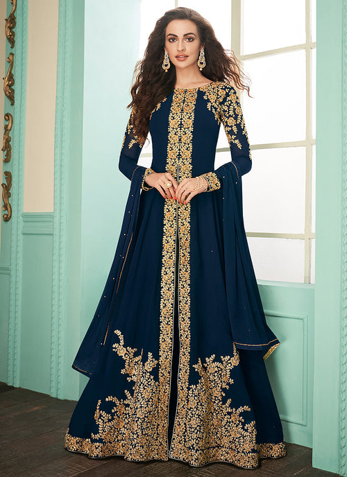 Indian Clothes - Navy Blue Slit Style Embroidered Anarkali Suit