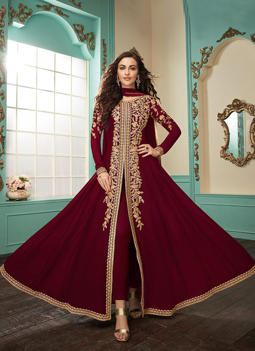 Deep Red Slit Style Embroidered Anarkali Suit