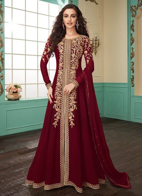 Indian Clothes - Deep Red Slit Style Embroidered Anarkali Suit