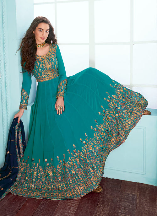 Turquoise And Blue Embroidered Designer Anarkali Suit