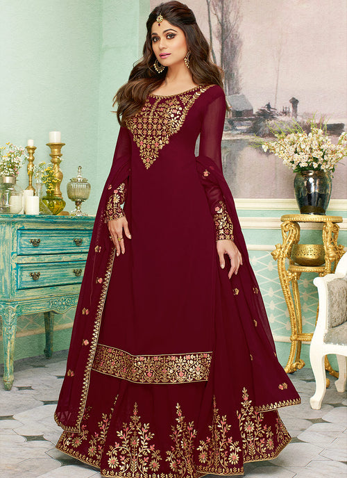 Maroon Golden Embroidered Sharara Style Suit