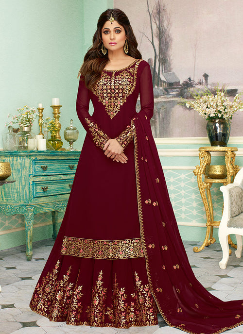 Indian Clothes - Maroon Golden Embroidered Sharara Style Suit