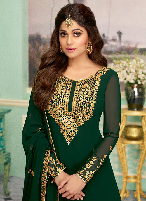 Dark Green Embroidered Sharara Style Suit, Salwar Kameez