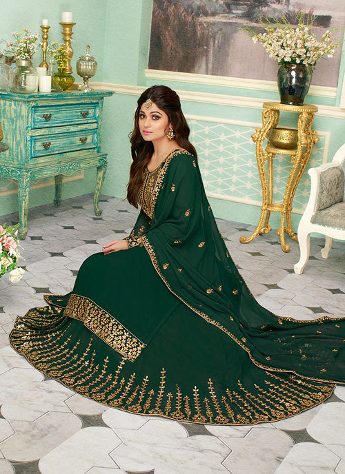 Dark Green Embroidered Sharara Style Suit