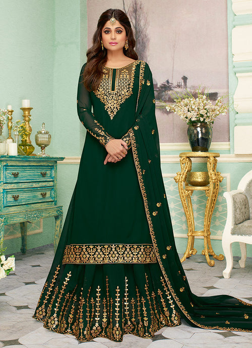 Indian Clothes - Dark Green Embroidered Sharara Style Suit