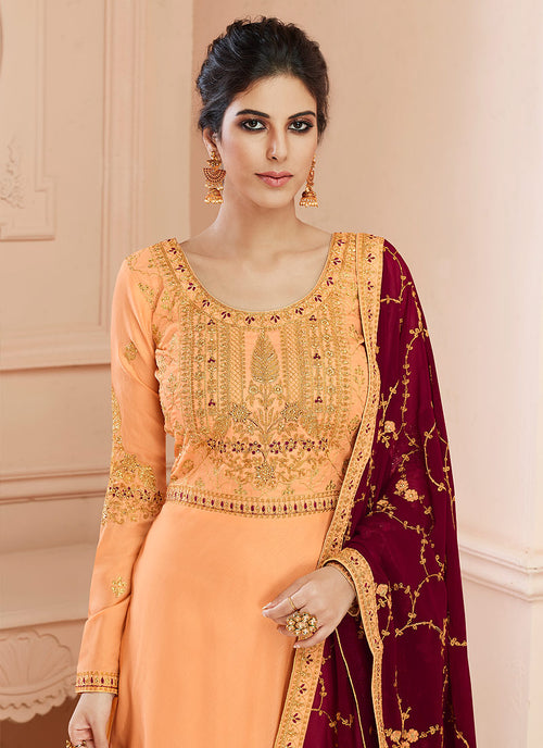 Orange And Maroon Traditional Anarkali Suit, Salwar Kameez