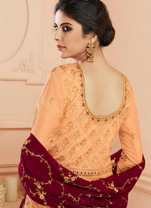 Orange And Maroon Traditional Anarkali Suit