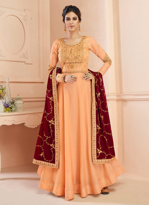 Indian Clothes - Orange And Maroon Traditional Anarkali Suit