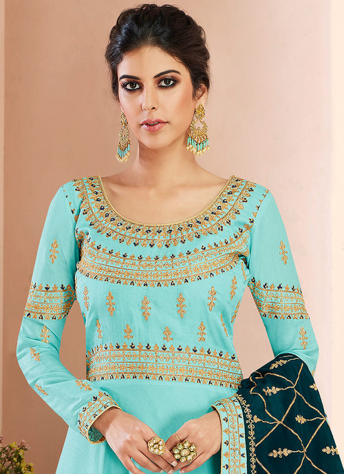 Blue And Green Traditional Anarkali Suit, Salwar Kameez