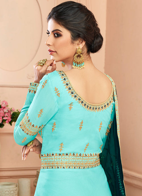 Blue And Green Traditional Anarkali Suit