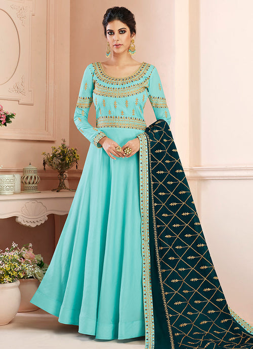 Indian Clothes - Blue And Green Traditional Anarkali Suit