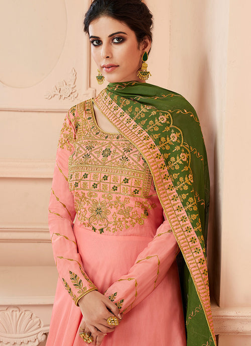 Peach And Green Traditional Anarkali Suit, Salwar Kameez