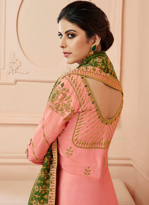 Peach And Green Traditional Anarkali Suit
