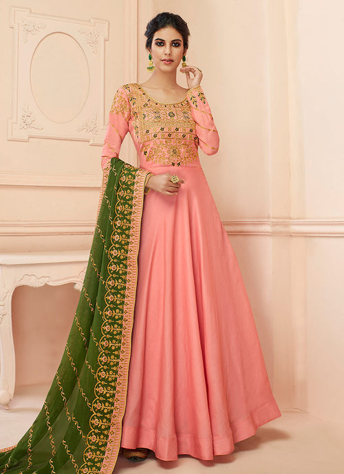 Indian Clothes - Peach And Green Traditional Anarkali Suit
