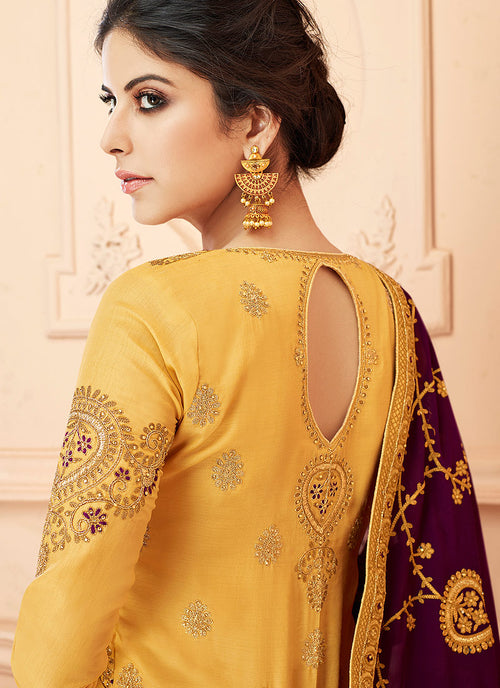 Yellow And Maroon Traditional Anarkali Suit