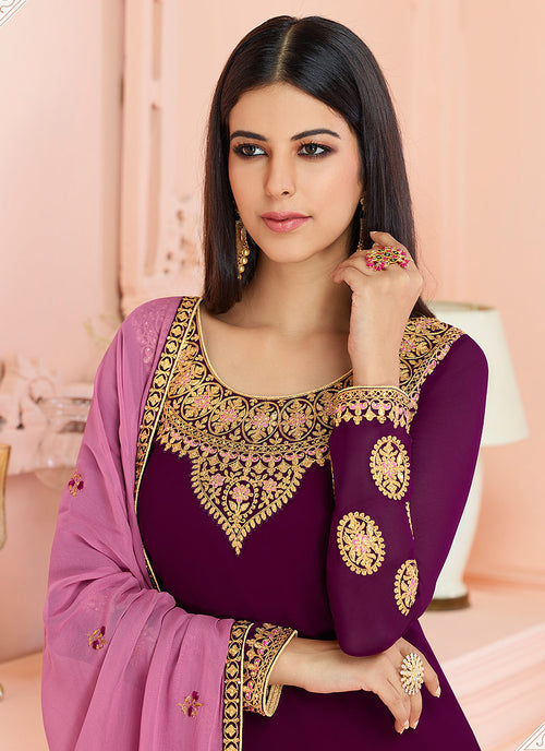 Plum And Pink Traditional Embroidered Pant Style Suit, Salwar Kameez