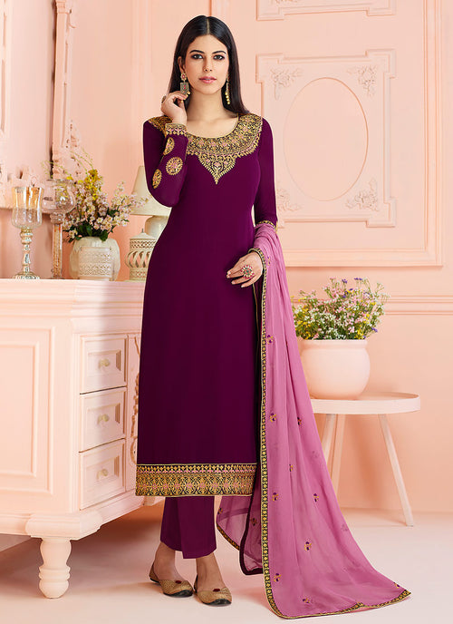 Indian Clothes - Plum And Pink Traditional Embroidered Pant Style Suit