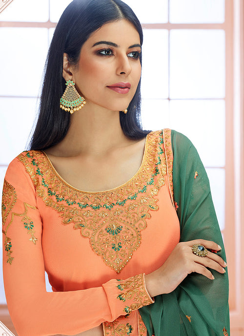 Peach And Green Traditional Embroidered Pant Style Suit, Salwar Kameez