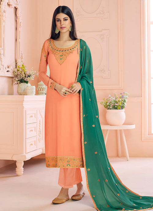 Indian Clothes - Peach And Green Traditional Embroidered Pant Style Suit