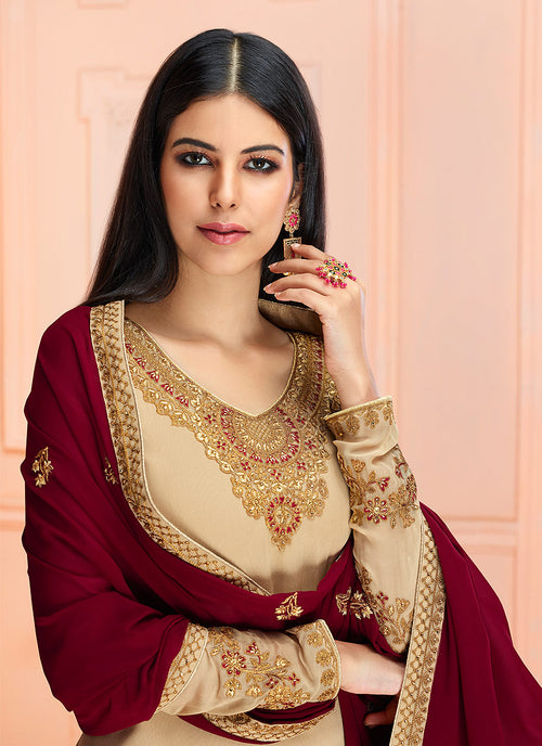 Beige And Red Traditional Embroidered Pant Style Suit