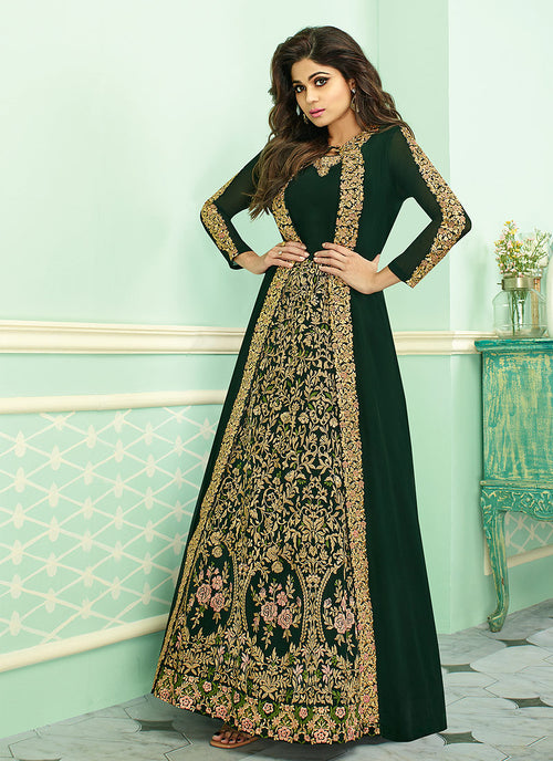 Dark Green Embroidered Jacket Style Anarkali Suit