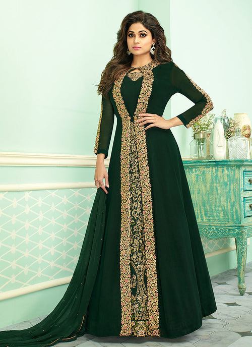 Indian Clothes - Dark Green Embroidered Jacket Style Anarkali Suit