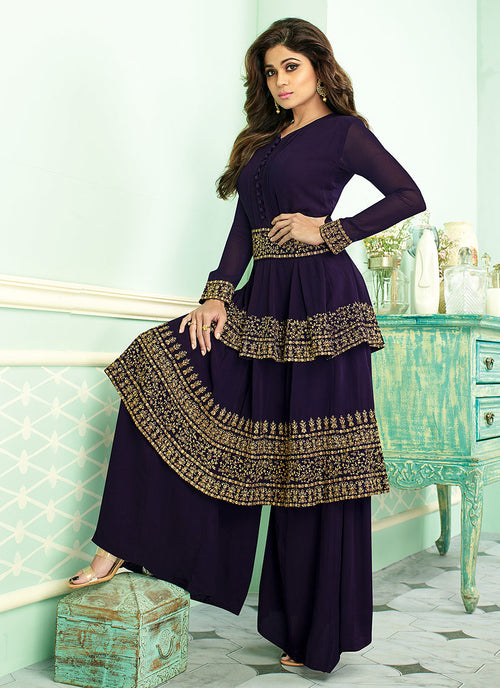 Navy Blue Embroidered Layered Style Palazzo Suit, Salwar Kameez