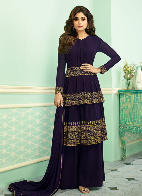 Indian Clothes - Navy Blue Embroidered Layered Style Palazzo Suit