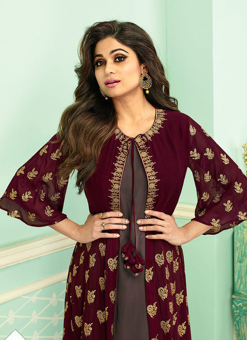 Maroon And Mauve Embroidered Jacket Style Palazzo Suit. Salwar Kameez