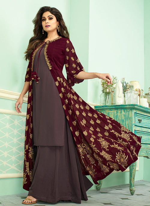 Maroon And Mauve Embroidered Jacket Style Palazzo Suit