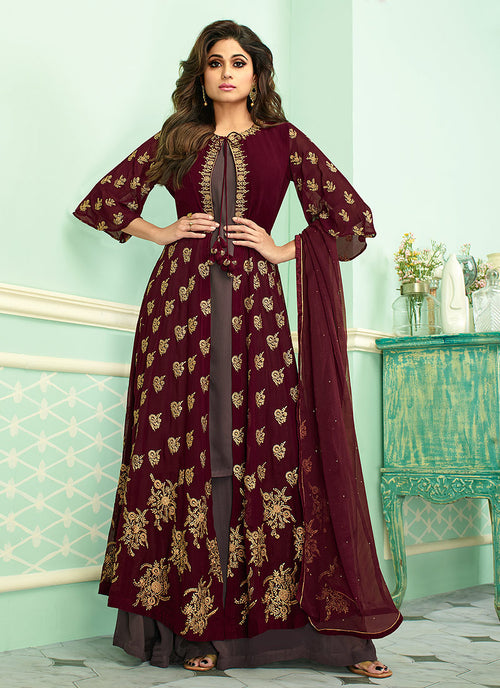Indian Clothes - Maroon And Mauve Embroidered Jacket Style Palazzo Suit
