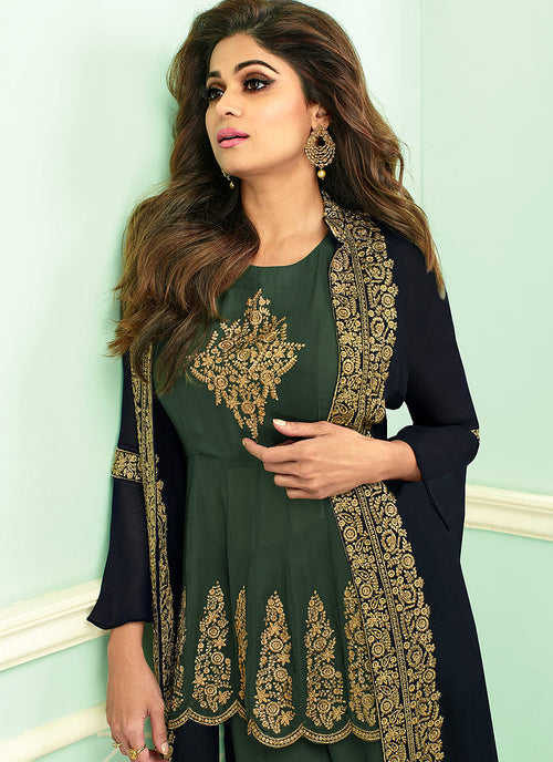Green And Blue Embroidered Jacket Style Palazzo Suit, Salwar Kameez