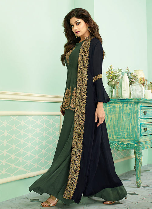 Green And Blue Embroidered Jacket Style Palazzo Suit