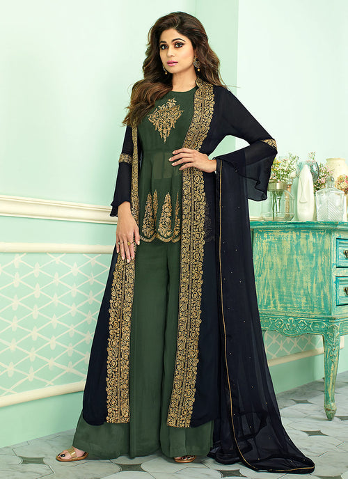 Indian Clothes - Green And Blue Embroidered Jacket Style Palazzo Suit