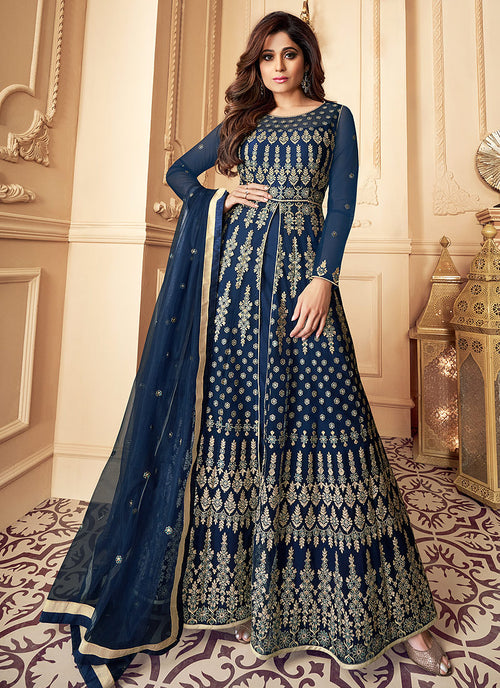 Indian Clothes - Navy Blue Traditional Embroidered Anarkali Suit