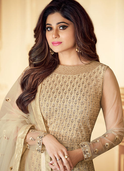 Indian Dresses - Beige Golden Traditional Anarkali Suit