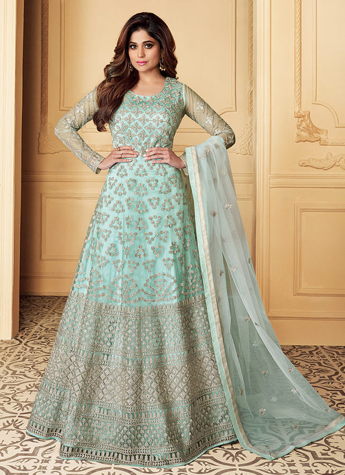 Indian Clothes - Light Blue Traditional Embroidered Anarkali Suit