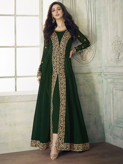 Green Overall Party Wear Pant Suit