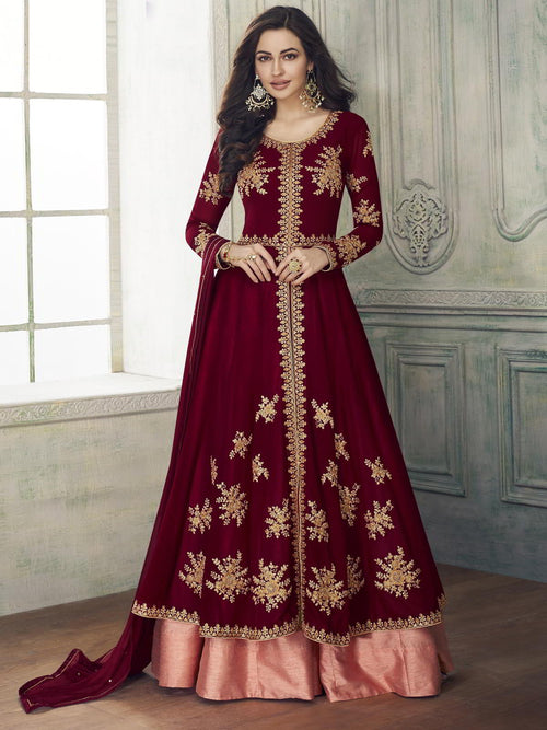 Maroon And Peach Layered Anarkali Pant Suit