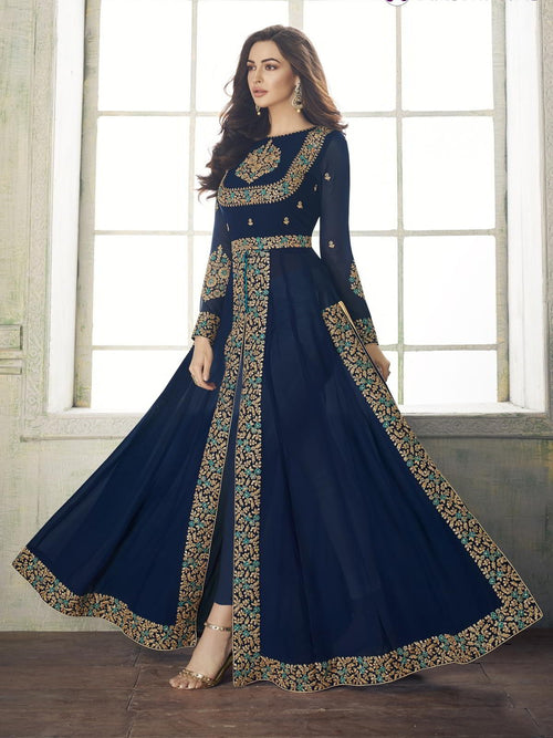 Deep Blue Overall Party Wear Pant Suit