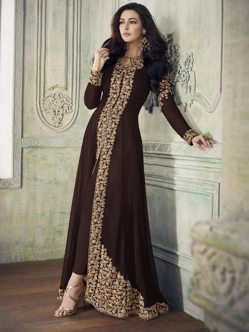 Dark Brown Overall Party Wear Pant Suit