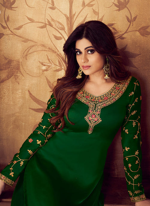Green All Over Embroidered Palazzo Suit
